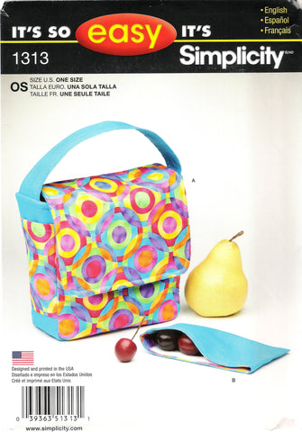 Simplicity 1313 Lunch Bag and Snack Pack -  - Smiths Depot Sewing Pattern Superstore
