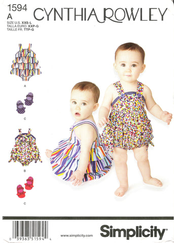 Simplicity 1594 Babies' Romper and Shoes in Four Sizes - A (XXS-XS-S-M-L) - Smiths Depot Sewing Pattern Superstore