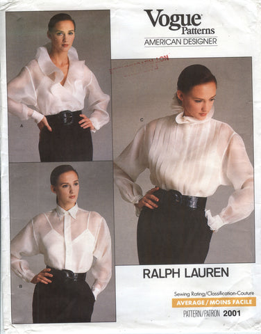 Vogue 2001 Misses' Blouse & Camisole - 16 - Smiths Depot Sewing Pattern Superstore