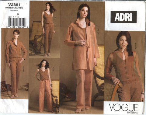Vogue 2851 Misses'/Misses' Petite Shirt-Jacket, Jacket, Top and Pants - 8-10-12 - Smiths Depot Sewing Pattern Superstore