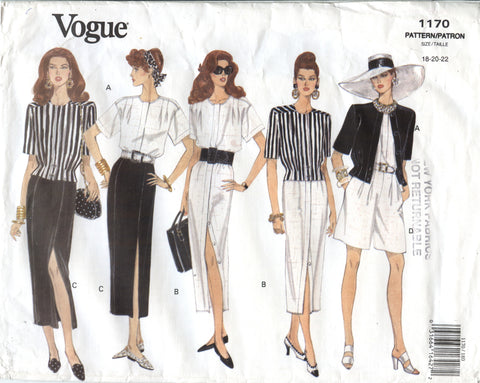 Vogue 1170 Misses' Jacket, Dress, Top, Skirt & Shorts - 18-20-22 - Smiths Depot Sewing Pattern Superstore
