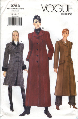 Vogue 9753 Misses' Coat - 8-10-12 - Smiths Depot Sewing Pattern Superstore