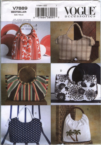 Vogue 7889 Summer Handbags -  - Smiths Depot Sewing Pattern Superstore