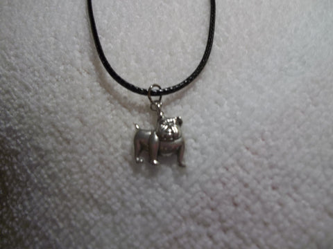 Black Leather Silver Bull Dog Necklace (N294)