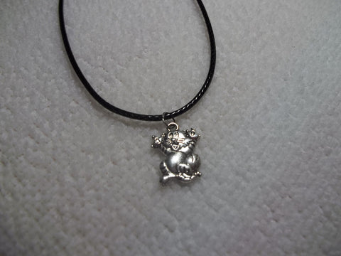 Black Leather Silver Crazy Cat Necklace (N296)