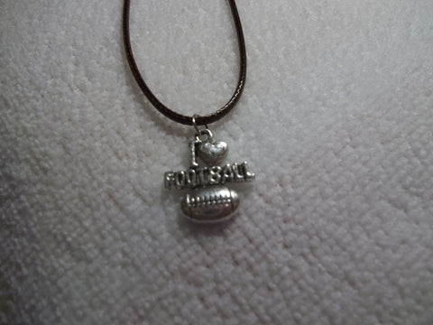 "Brown Leather Silver ""I love Football"" Necklace (N302)"