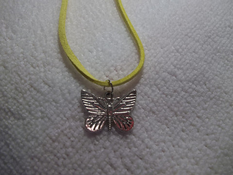 Yellow Leather Silver Butterfly Necklace (N306)