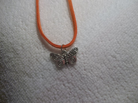 Orange Leather Silver Butterfly Necklace (N305)
