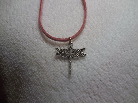 Pink Leather Silver Dragon Fly Necklace (N304)