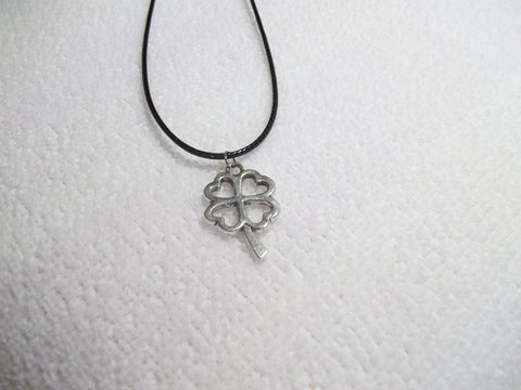 Black Leather Silver 4 leaf Clover Necklace (N322)