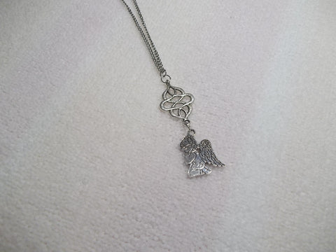 Silver Praying Angel Necklace (N346)