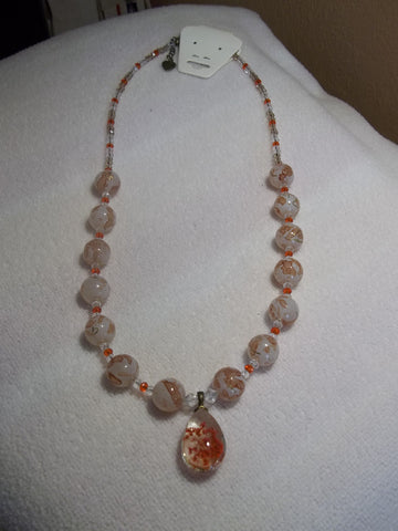 Glass Burnt Orange Bead Crystal Burnt Orange Dried Flower Pendant Necklace (N710)