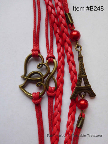 Multi Layer Metal Leather Rope, Hearts, Infinity, Eiffel Tower, Red Pearls Bracelet (B248)