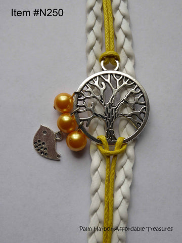 Multi Leather Rope Bracelet with Tree, Bird, Yellow Pearls