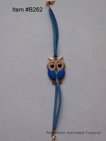 Retro Owl Leather Charm Bracelet