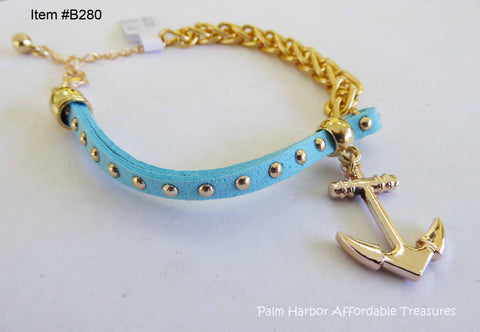 Leather Rope Chain Bracelet with Anchor With Studs