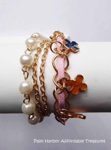 White Pearl Clover Leather Bracelet