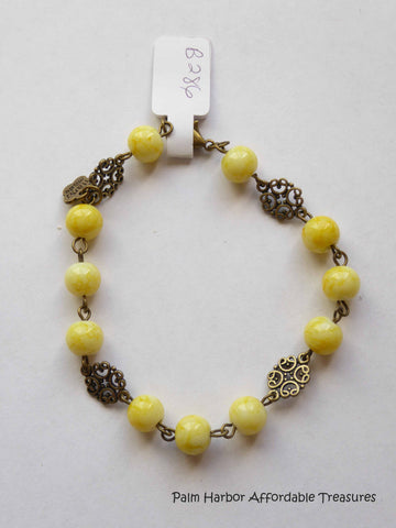 Yellow Glass Bronze Bead Bracelet (B286)