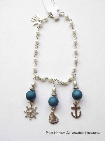 White Pearl Silver Blue Beads Sail Boat Anchor Ships Wheel Bracelet (B290)
