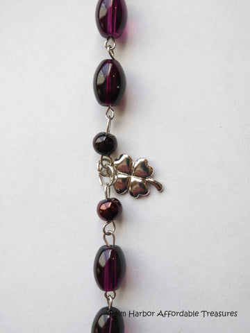 Purple glass bead silver Four Leaf Clover Bracelet (B292)