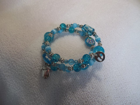 Blue Glass Beads Baby One-z and Feet Bracelet (B308)