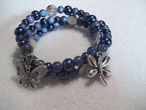 Blue Glass Bead Butterflies Bracelet (B315)