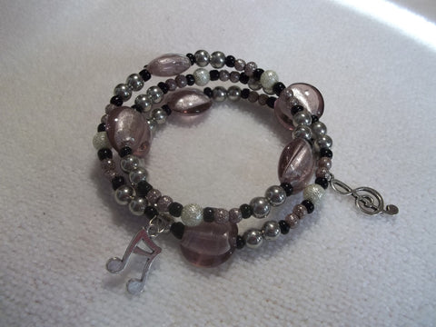 Light Pink Black Glass Bead Silver Musical Note Staff Bracelet (B318)