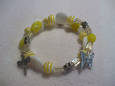 Yellow Glass Bead Silver Butterfly Dragonfly Bracelet (B319)