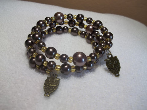Memory Wire Brown Glass Beads Bronze Owls Bracelet (B324)