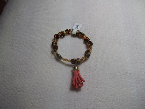 Memory Wire Gold Red Glass Bead Red Tassel Bracelet (B343)