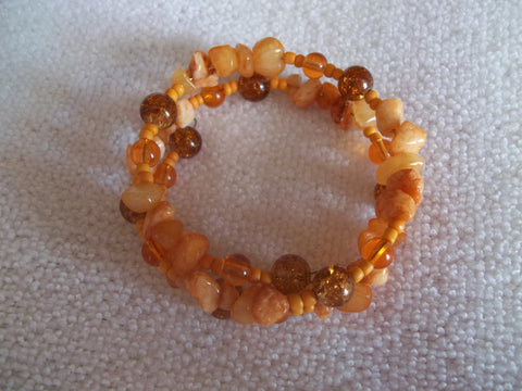 Memory Wire Orange Rocks Glass Bead Bracelet (B345)