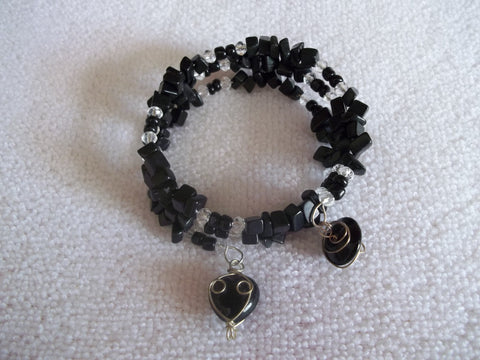 Memory Wire Black Rock Clear Crystal Wrapped Black Beads Bracelet (B347)