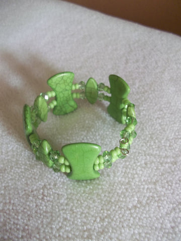 Double Memory Wire Green Bracelet (B348)