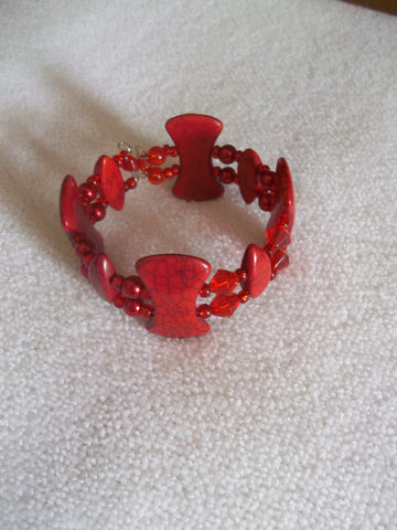 Double Memory Wire Red Bracelet (B349)