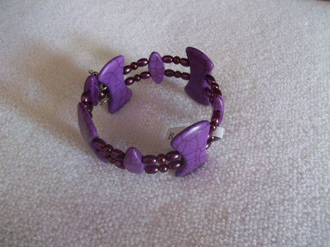 Double Memory Wire Purple Bracelet (B350)