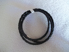 Black Braided Leather Bracelet (B352)