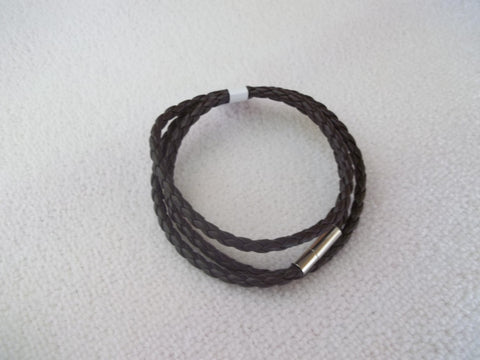 Brown Braided Leather Bracelet (B353)