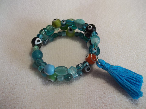 Memory Wire Multi Color Evil Eye Bracelet (B354)