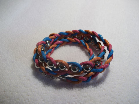 Pink Orange Blue Leather Silver Beads Braided Wrap Bracelet (B359)