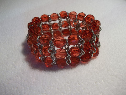 Red Acrylic Bead Silver Chain Stretchy Bracelet (B360)