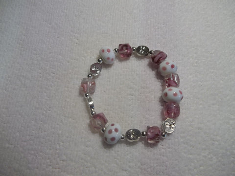 Pink Silver Breast Cancer Awareness Stretchy Bracelet (B361)