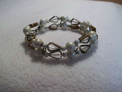 Double Antique White Clear Bronze Trim Glass Bead Stretchy Bracelet (B363)