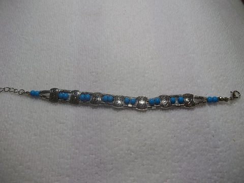 Silver Turquoise Bead Bracelet (B374)
