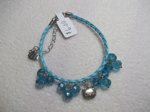 Light Blue Braid Leather Blue Crystals Silver Hello Kitty Bracelet (B379)