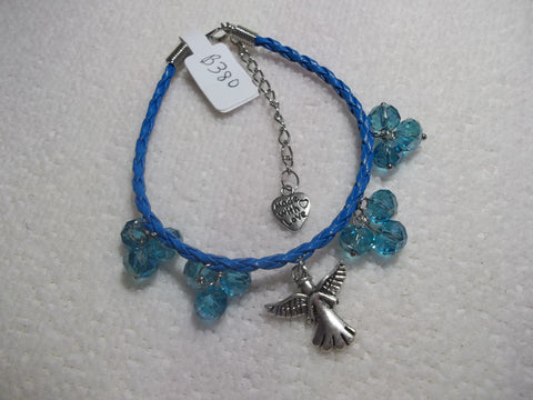 Blue Braid Leather Blue Crystals Silver Angel Bracelet (B380)
