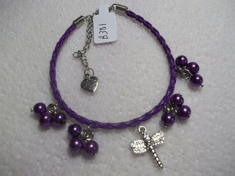 Purple Braid Leather Purple Pearls Silver Dragonfly Bracelet (B381)