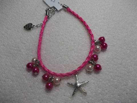 Bright Pink Braid Leather Pink Pearls Silver Starfish Bracelet (B382)