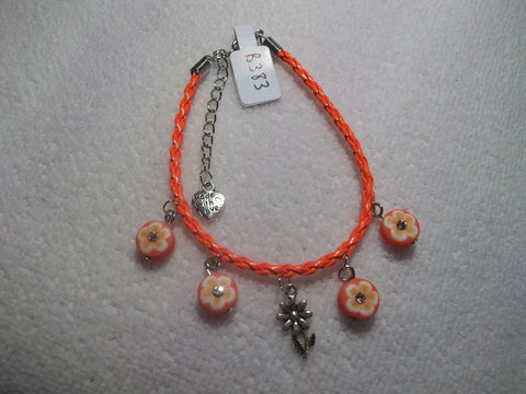 Neon Orange Braid Leather Silver Flower Orange Flowers Bling Bracelet (B383)