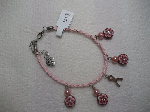Pink Braid Leather Silver Cancer Pink Flower Pink Pearls Bracelet (B385)