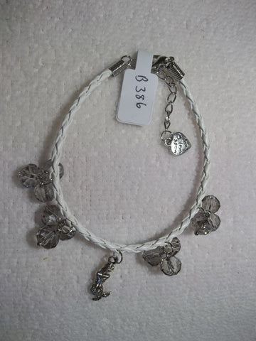 White Braid Leather Silver Mermaid Smoke Gray Crystals Bracelet (B386)